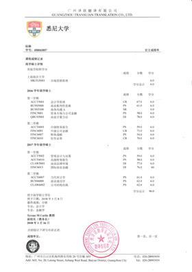国外大学成绩单翻译模板样本