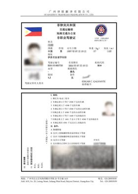菲律宾驾照翻译成中文换驾照用模板展示图