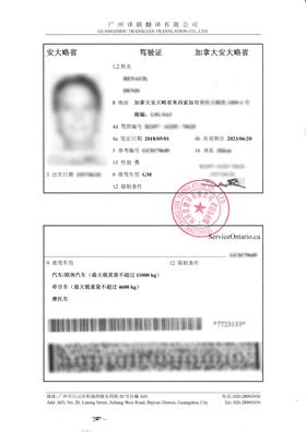 加拿大驾照翻译成中文客户图片内容