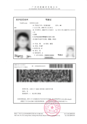 美国驾照翻译成中文驾照换证用模板图片